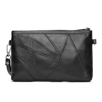 Sheepskin Stitching Handbags Shoulder Bag Messenger Bag Shoulder Clutch - BLACK