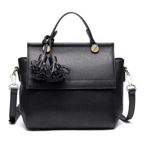 SITIYA Top Handle Tassel Large Style Women Leather Tote Purse Shoulder Bag - BLACK