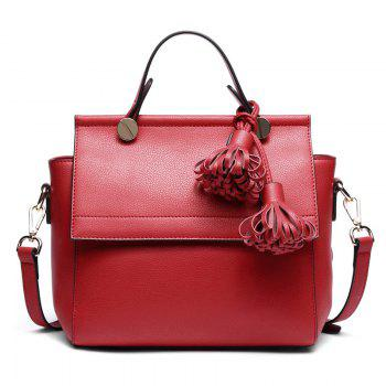 SITIYA Top Handle Tassel Large Style Women Leather Tote Purse Shoulder Bag - RED RED