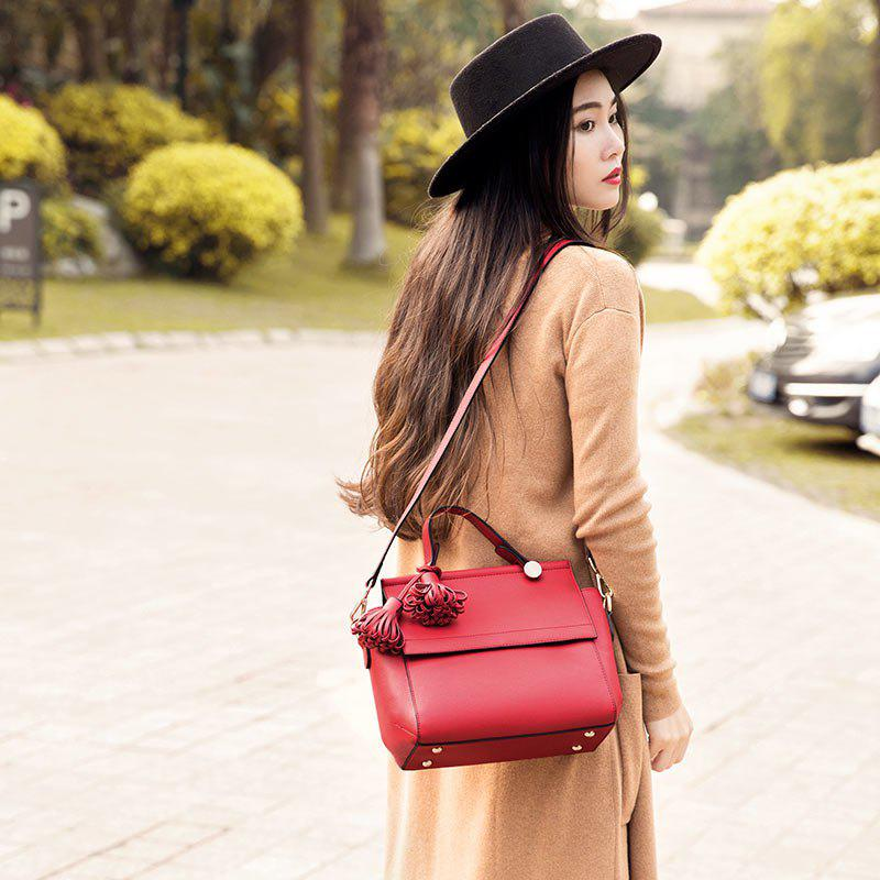 SITIYA Top Handle Tassel Large Style Women Leather Tote Purse Shoulder Bag - RED
