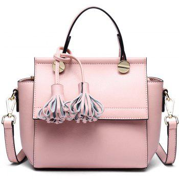 SITIYA Top Handle Tassel Small Style Women Leather Tote Purse Shoulder Bag - PINK PINK