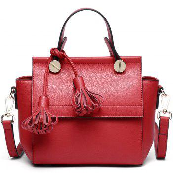 SITIYA Top Handle Tassel Small Style Women Leather Tote Purse Shoulder Bag - RED RED