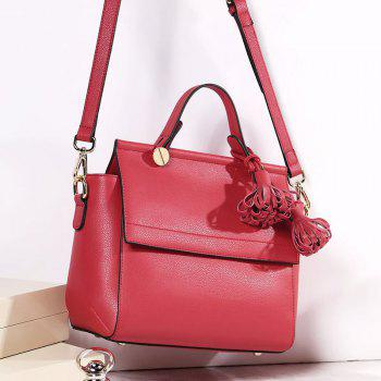SITIYA Top Handle Tassel Small Style Women Leather Tote Purse Shoulder Bag - RED