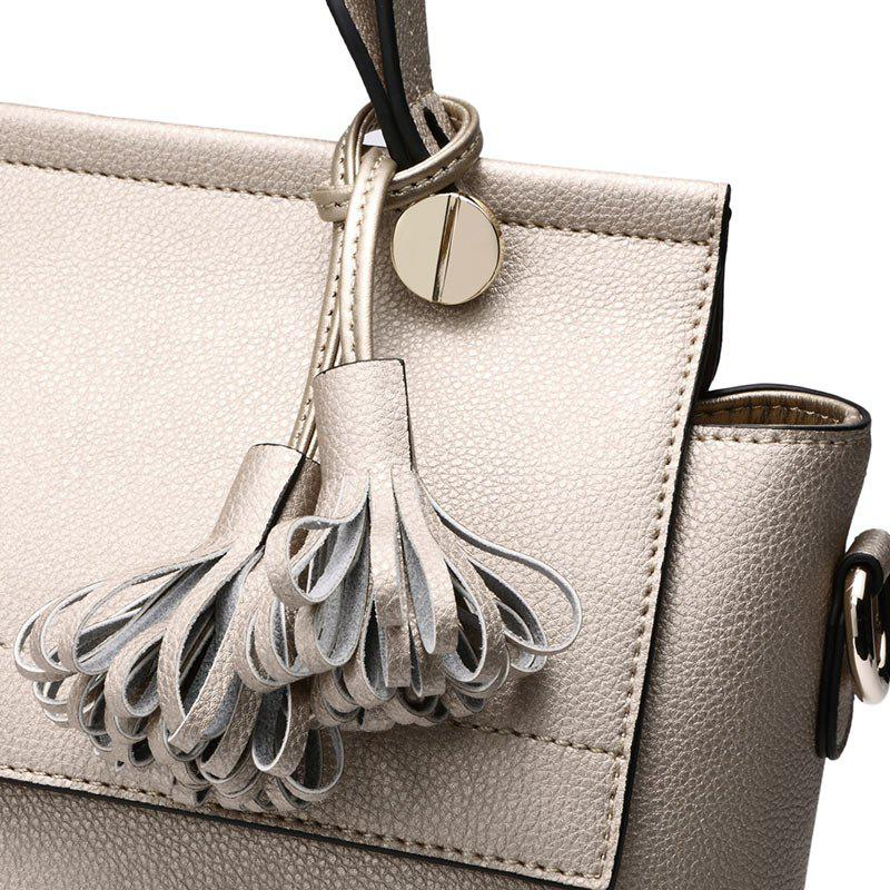 SITIYA Top Handle Tassel Small Style Women Leather Tote Purse Shoulder Bag - GOLD