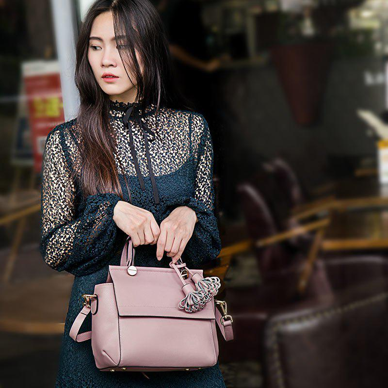 SITIYA Top Handle Tassel Small Style Women Leather Tote Purse Shoulder Bag - PINK