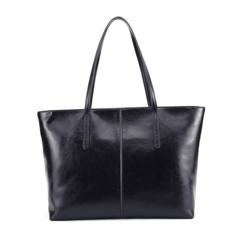 SITIYA Genuine Leather Handbags Top-handle Tote Purse Bag for Women - BLACK