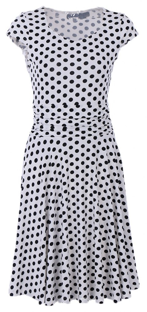 2017 New Style Woman Summer Printed  Dot Square Collar Short Sleeve Knee Length Casual Dress - WHITE XL