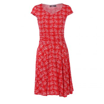 2017 New Style Woman Summer Printed  Dot Square Collar Short Sleeve Knee Length Casual Dress - RED S
