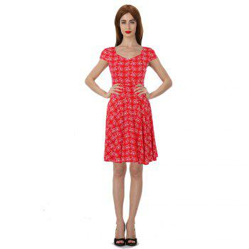 2017 New Style Woman Summer Printed  Dot Square Collar Short Sleeve Knee Length Casual Dress - RED L