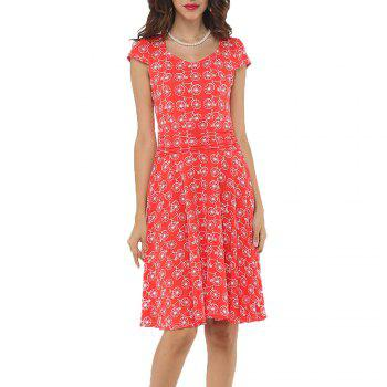 2017 New Style Woman Summer Printed  Dot Square Collar Short Sleeve Knee Length Casual Dress - RED RED