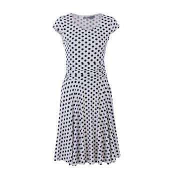 2017 New Style Woman Summer Printed  Dot Square Collar Short Sleeve Knee Length Casual Dress - WHITE WHITE