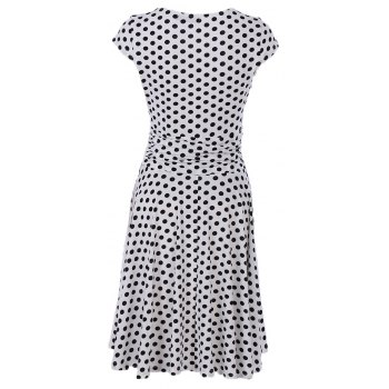 2017 New Style Woman Summer Printed  Dot Square Collar Short Sleeve Knee Length Casual Dress - WHITE M