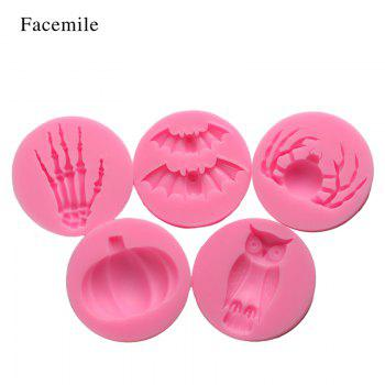 Facemile Halloween Fondant Chocolate Silicone Molds Hand Skeleton Spider Bats Pumpkin Owls Clay Baking Tool Cake Decor Tool 6PCS/set - PINK
