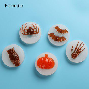 Facemile Halloween Fondant Chocolate Silicone Molds Hand Skeleton Spider Bats Pumpkin Owls Clay Baking Tool Cake Decor Tool 6PCS/set - TRANSPARENT