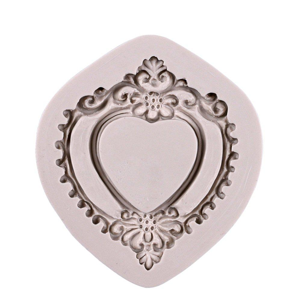 Facemile 3D Retro Heart Mirror Frame Shape Cake Decorating Tools Chocolate Mold Kitchen Baking DIY Fondant Silicone Mold 10 in 1 fondant cake decorating flower modelling tool set multicolored