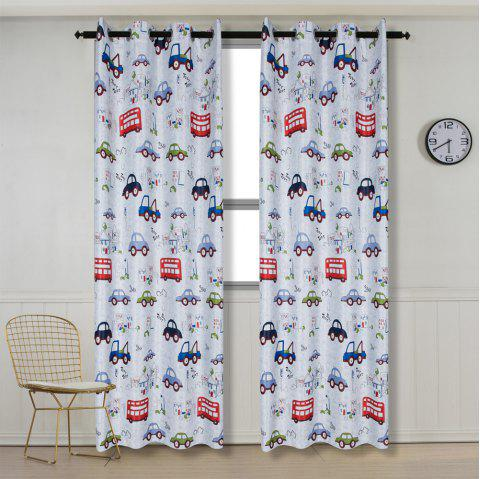 Grommet Top Cartoon Blackout Car Curtains for Family Children Bedroom Living Room - COLORMIX 90