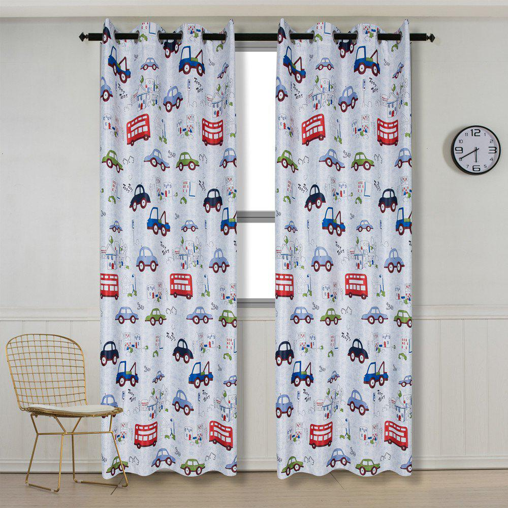 Grommet Top Cartoon Blackout Car Curtains for Family Children Bedroom Living Room - COLORMIX 48