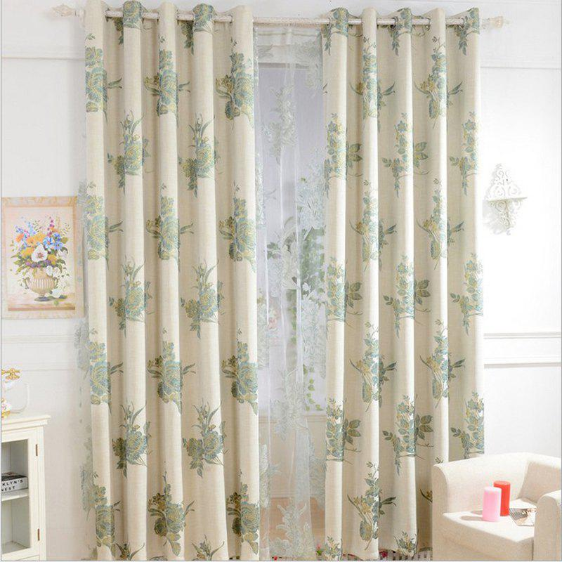 Korean Style High-Grade Linen Super Thick Jacquard Blackout Curtains Grommet 2PCS - BLUE 2X(90WX72L)