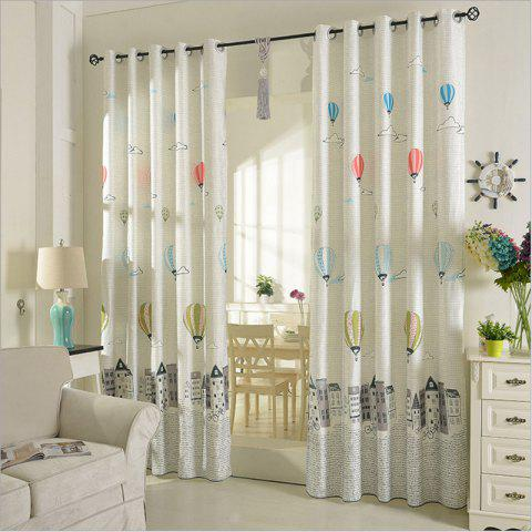 Children Room Cute Cartoon Style Printing Curtains Grommet 2PCS - GRAY 2X(72WX63L)