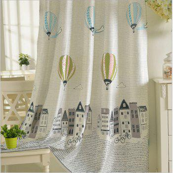 Children Room Cute Cartoon Style Printing Curtains Grommet 2PCS - GRAY 2X(90WX54L)