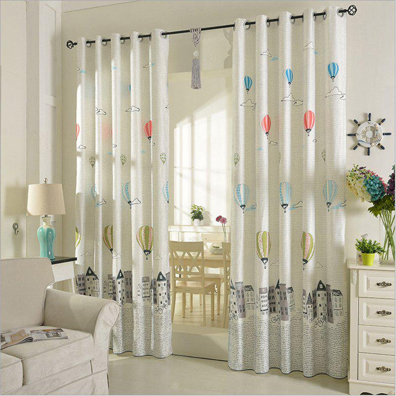 Children Room Cute Cartoon Style Printing Curtains Grommet 2PCS - GRAY 2X(42WX96L)