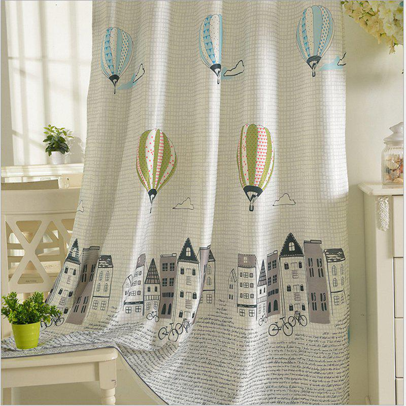 Children Room Cute Cartoon Style Printing Curtains Grommet 2PCS - GRAY 2X(90WX72L)