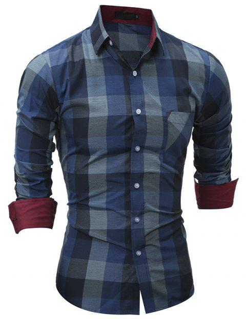 2017 New Spring Grid Series Men'S Casual Slim Long-Sleeved Shirt - BLUE 2XL