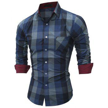 2017 New Spring Grid Series Men'S Casual Slim Long-Sleeved Shirt - BLUE M
