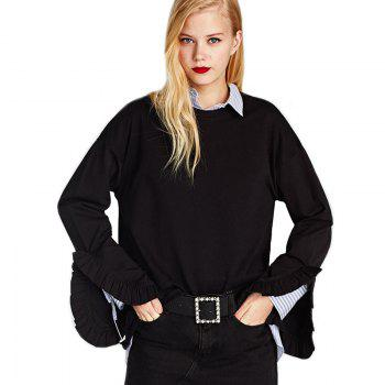 Women's Fashion Round Collar Loose Ruffle Cuffs Split Sweatshirt - BLACK BLACK