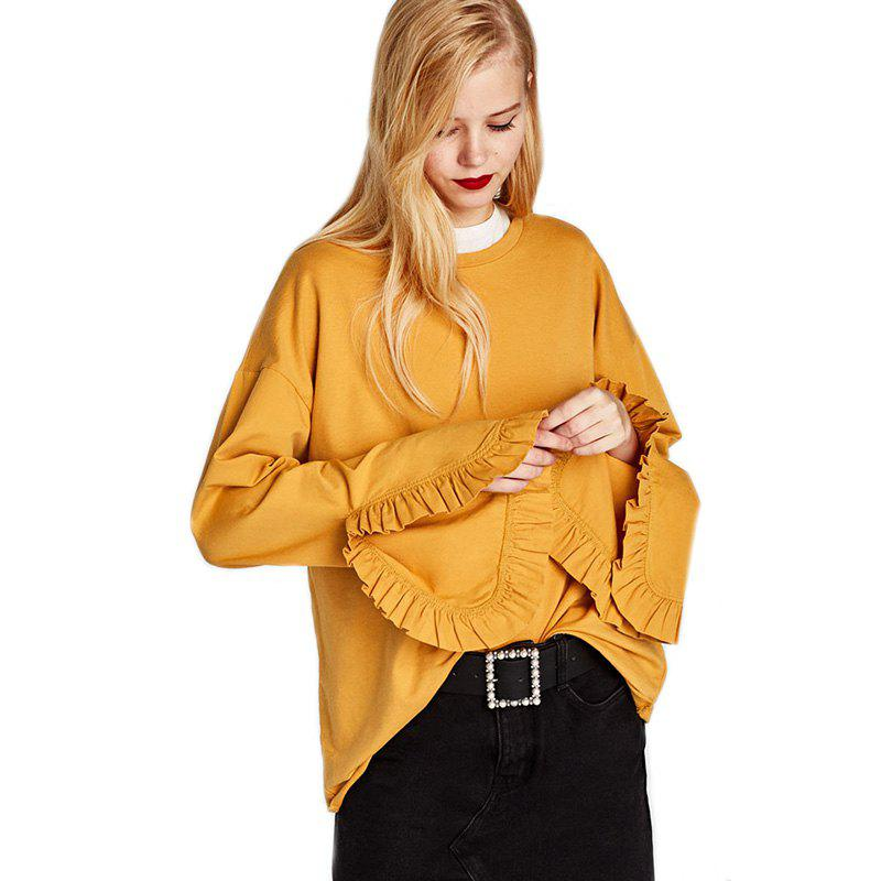 Women's Fashion Round Collar Loose Ruffle Cuffs Split Sweatshirt - GINGER M