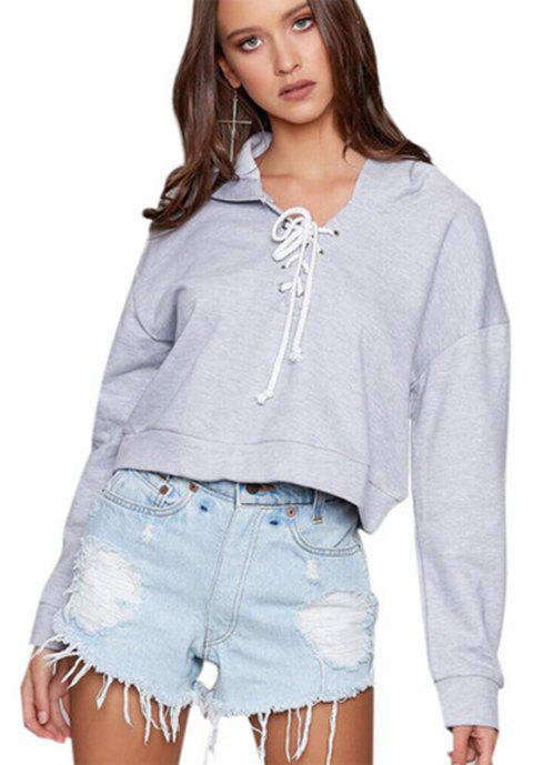 Women's Fashion Long-Sleeved Lace Short Hoodie - GRAY M