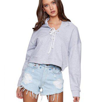 Women's Fashion Long-Sleeved Lace Short Hoodie - GRAY GRAY