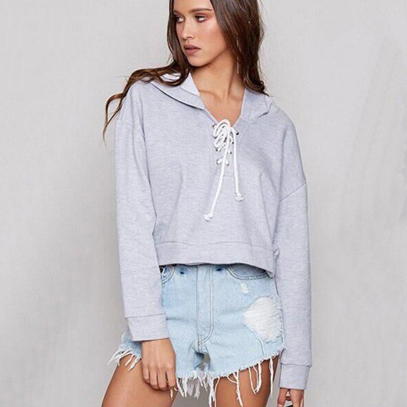 Women's Fashion Long-Sleeved Lace Short Hoodie - GRAY XL