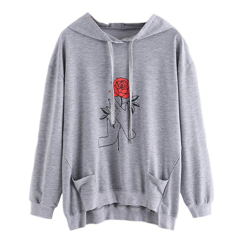 Women's Fashion Large Size Hand Hoodie - GRAY XL