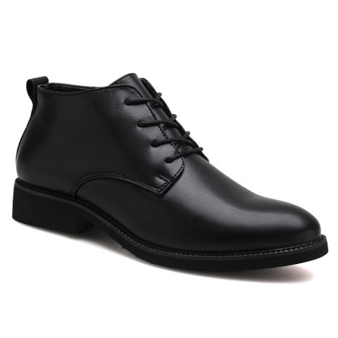 Stylish Casual Lace Up Men Leather Shoes - BLACK 39