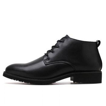 Stylish Casual Lace Up Men Leather Shoes - BLACK BLACK