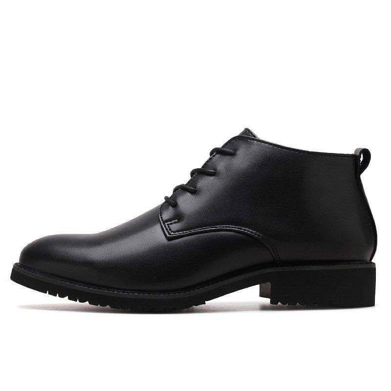 Stylish Casual Lace Up Men Leather Shoes - BLACK 41