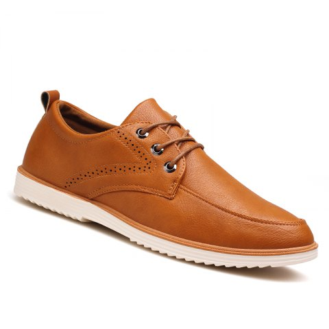 Male Business Stylish Gradient Toe British Casual Leather Shoes - YELLOW BROWN 42