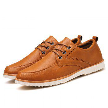 Male Business Stylish Gradient Toe British Casual Leather Shoes - YELLOW BROWN 41