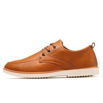 Male Business Stylish Gradient Toe British Casual Leather Shoes - YELLOW BROWN 39