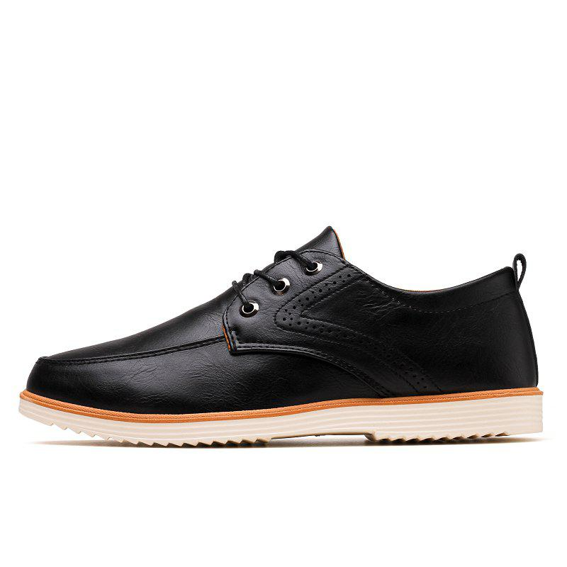 Male Business Stylish Gradient Toe British Casual Leather Shoes - BLACK 40