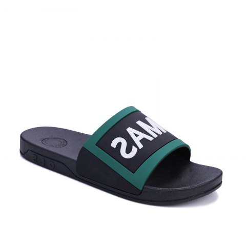 Men's Home Comfort and Anti-skid Slippers - BLACK/GREEN 39