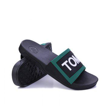 Men's Home Comfort and Anti-skid Slippers - BLACK/GREEN 40