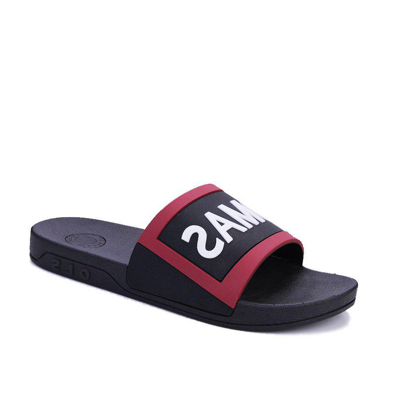 Men's Home Comfort and Anti-skid Slippers - BLACK/RED 40