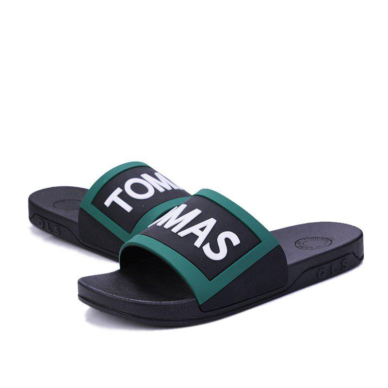 Men's Home Comfort and Anti-skid Slippers - BLACK/GREEN 43