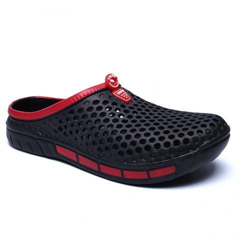 Male Hollow out Breathable Casual Beach Slippers - BLACK 40