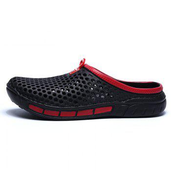 Male Hollow out Breathable Casual Beach Slippers - BLACK BLACK