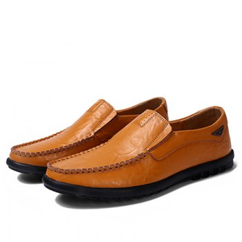 Casual Driving  Men Soft Leather Shoes - YELLOW YELLOW