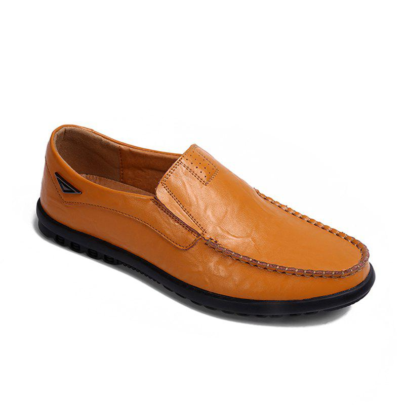 Casual Driving  Men Soft Leather Shoes - YELLOW 43
