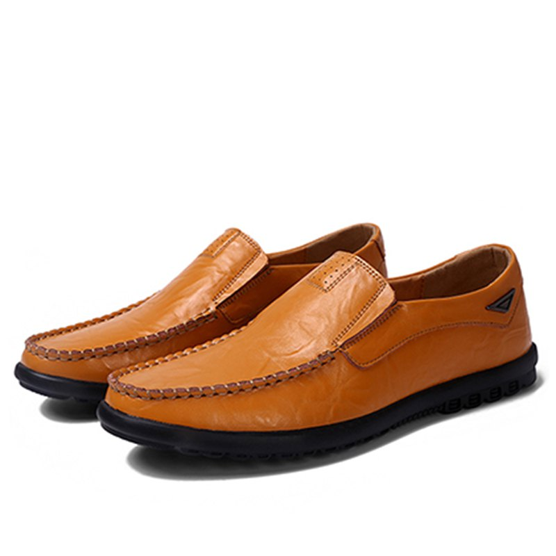 Casual Driving  Men Soft Leather Shoes - YELLOW 44
